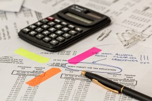 Accountant's files and calculator